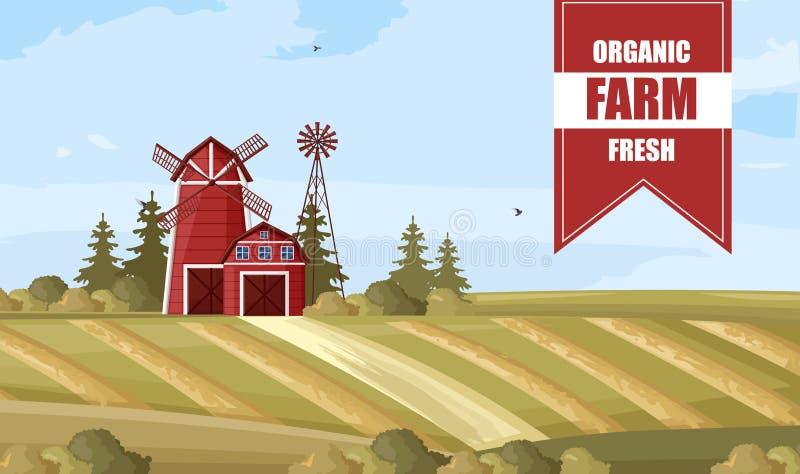 Органические плакаты Шаблоны макетов меток Countryside иллюстрация вектора