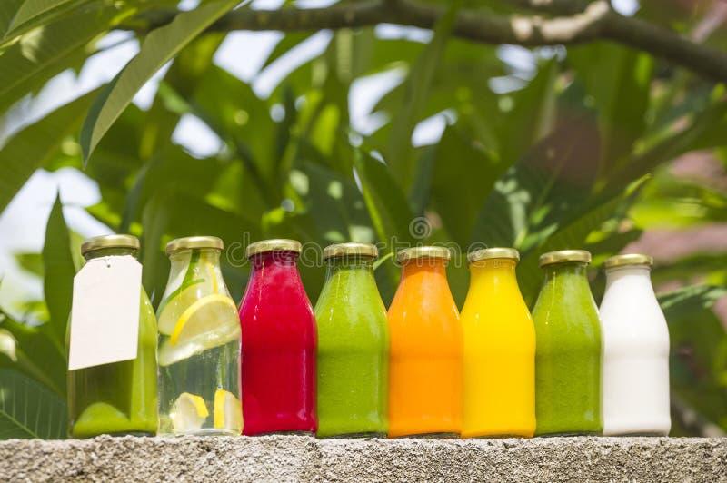 Органические холодн-отжатые сырцовые vegetable соки стоковая фотография