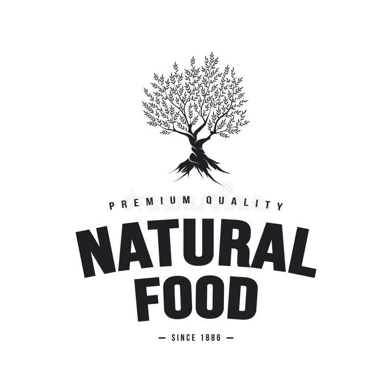 Органический дизайн эмблемы естественных и здоровых свежих продуктов фермы ретро иллюстрация вектора