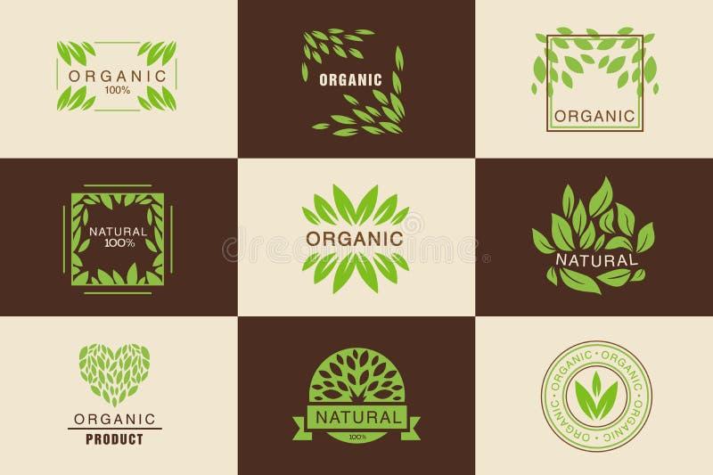 Органический набор шаблона логотипа продукта, значки собрание естест бесплатная иллюстрация