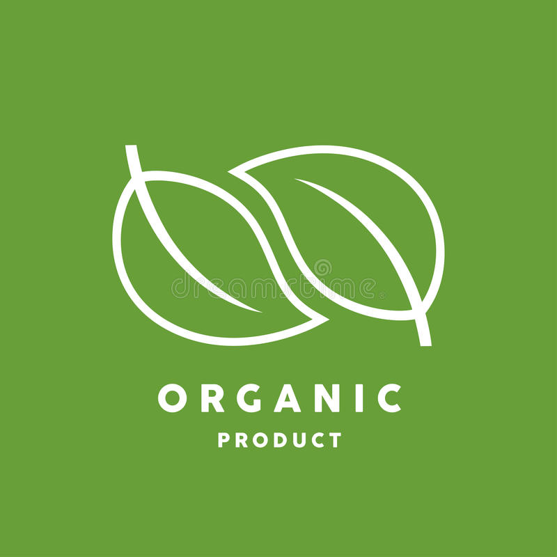 Органический логотип продукта с белым значком лист на зеленой предпосылке иллюстрация вектора