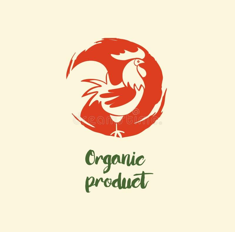 Органический логотип продукта с петухом нарисованным рукой иллюстрация вектора