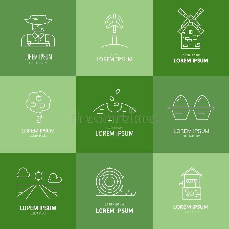 Органический логотип сельского хозяйства иллюстрация штока