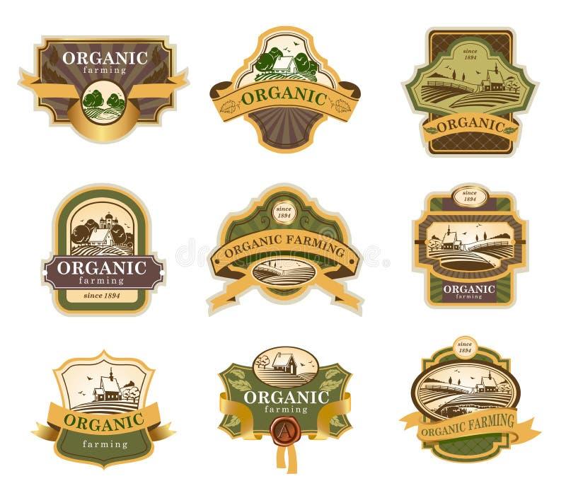 Органический ярлык сельского хозяйства иллюстрация вектора