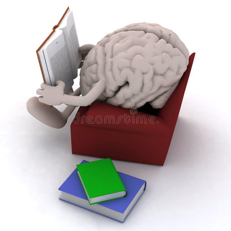 Орган мозга читая книгу от кресла иллюстрация вектора