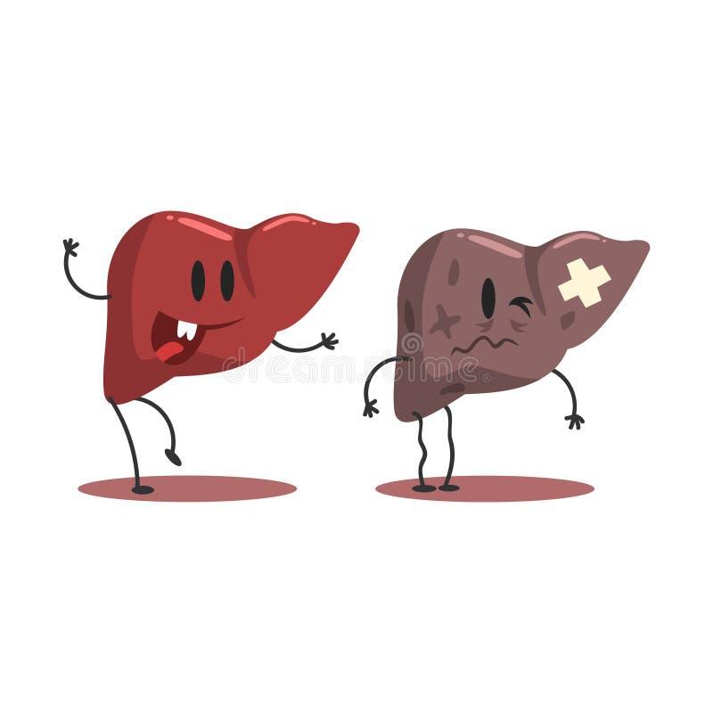 Орган печени человеческий внутренний здоровый против нездоровых, медицинских анатомических смешных пар персонажа из мультфильма п иллюстрация штока