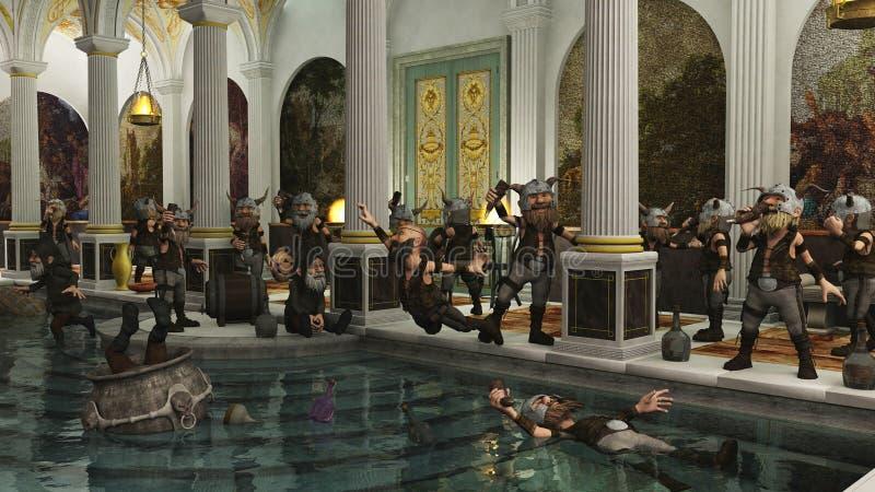 Орда Toon Viking в доме ванны иллюстрация вектора