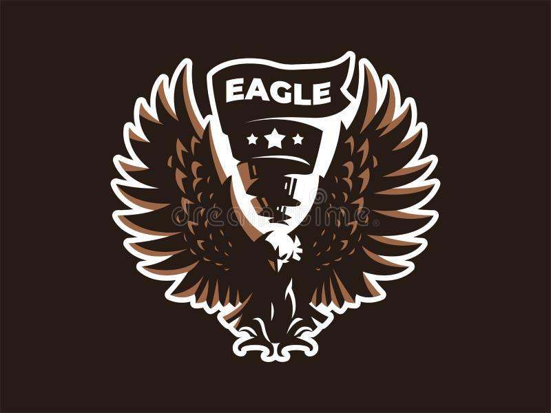 Орел или ястреб с протягиванными крыльями бесплатная иллюстрация