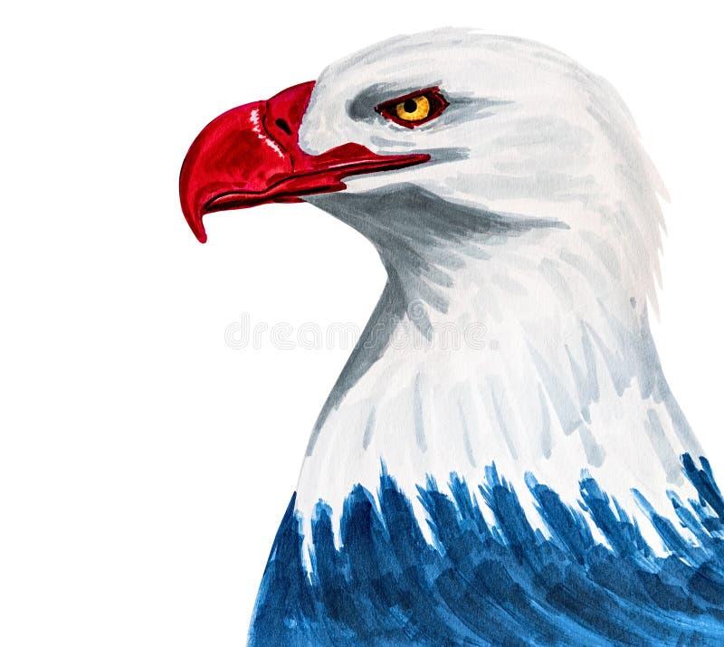 Орел покрашенный в цветах американского флага вручает вычерченное isolatedon иллюстраций белое с закрепляя путем бесплатная иллюстрация