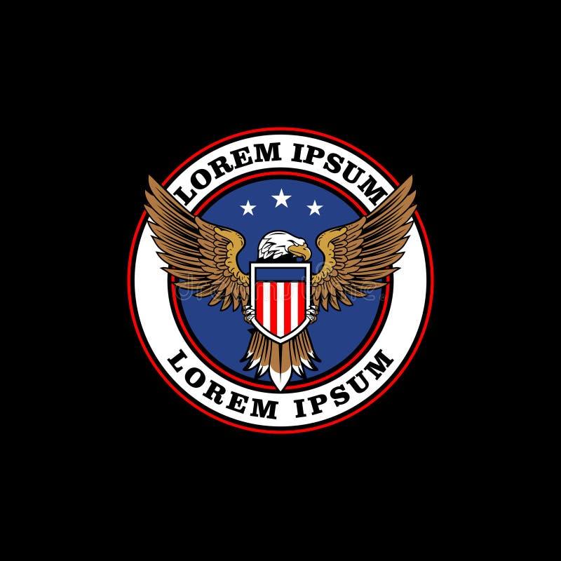 Орел с шаблоном логотипа значка вектора американского флага бесплатная иллюстрация
