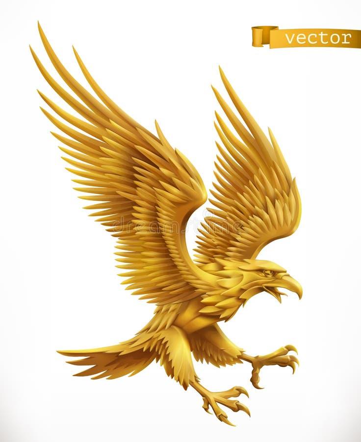 Орел, эмблема золота вектор иконы 3d иллюстрация штока