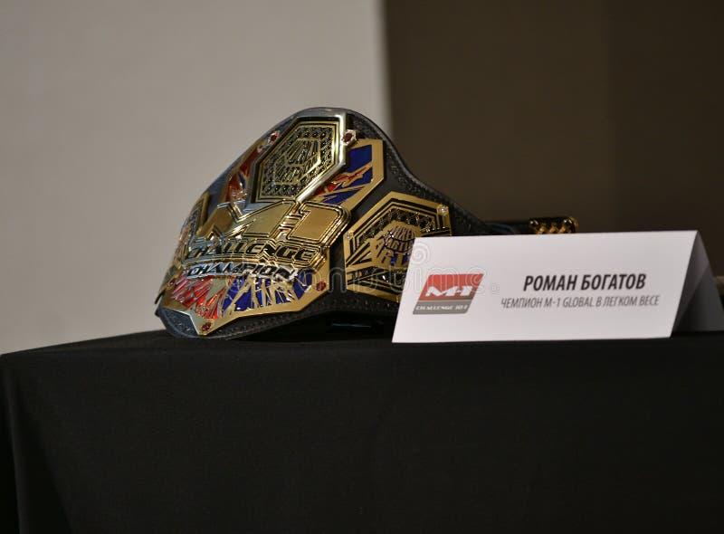 Оренбург, Россия - 29 августа 2019 года: пресс-конференция и официальный вес бойцов MMA M-1 Challenge 104 стоковое изображение rf