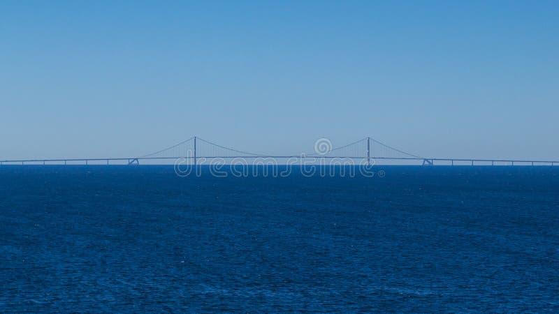 Ореундский мост с необлачным голубым небом и северным морем стоковое фото rf