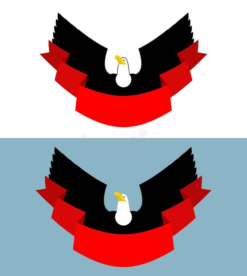 Орел и красная лента Хищная птица для символа, эмблема спорт иллюстрация вектора