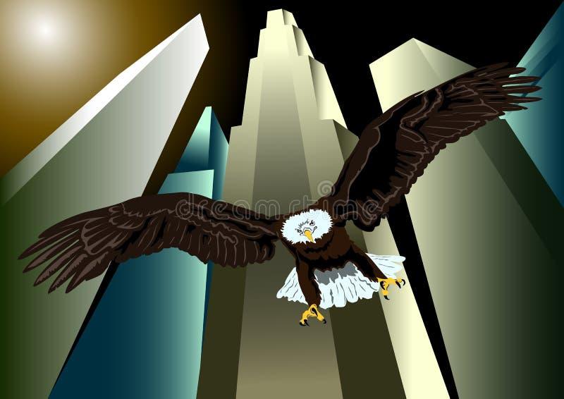 Орел над Нью-Йорком иллюстрация вектора