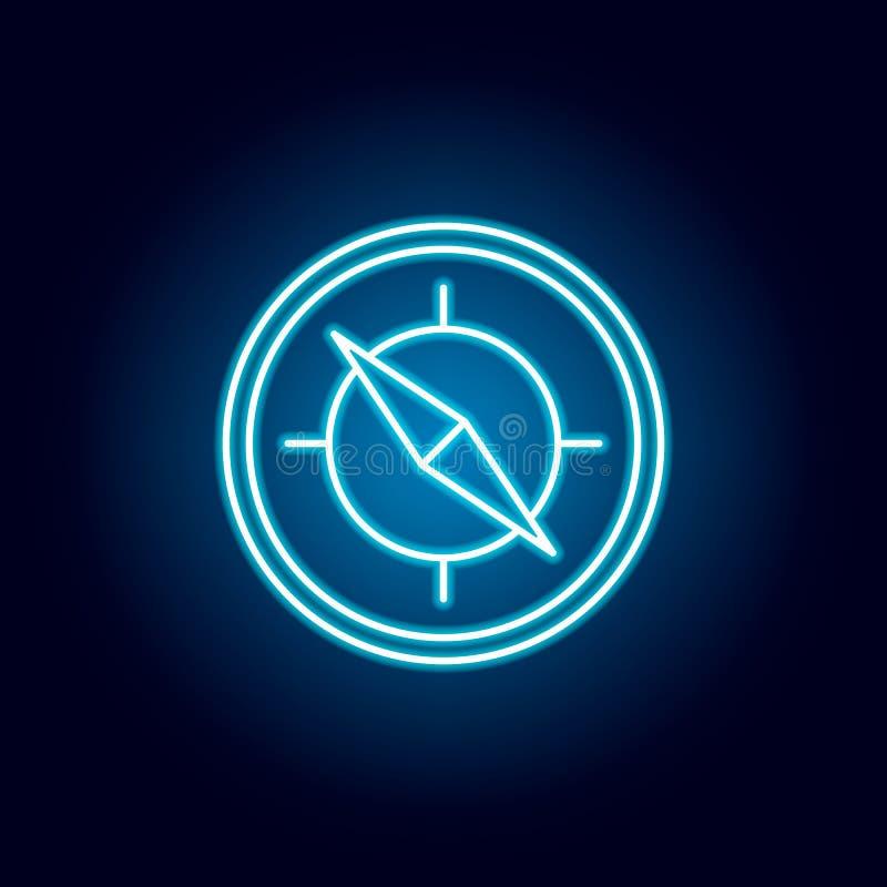 ориентация, направление, круговой значок плана в неоновом стиле элементы линии значка иллюстрации образования знаки, символы могу иллюстрация вектора