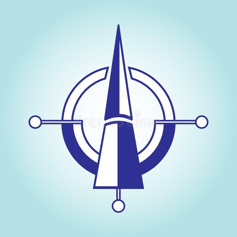 Ориентация на сторонах мира с севера на юг на свете - голубой предпосылке Дизайн вектора плоский иллюстрация вектора