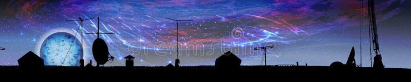 ориентация панорамы космоса горизонтальная иллюстрация штока