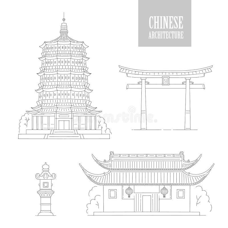 Ориентиры архитектуры вектора китайские Восточные здания чернят белую линию пагоду и газебо ворот искусства Установите различный иллюстрация штока