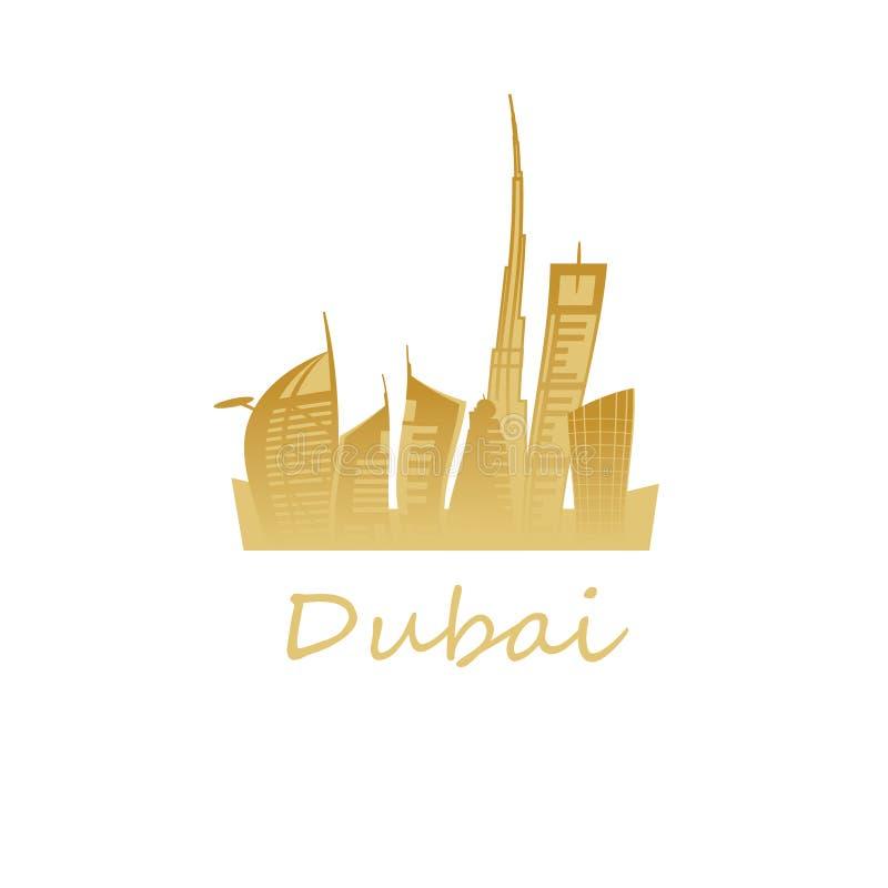 Ориентиры города Дубай в золотых цветах стоковая фотография