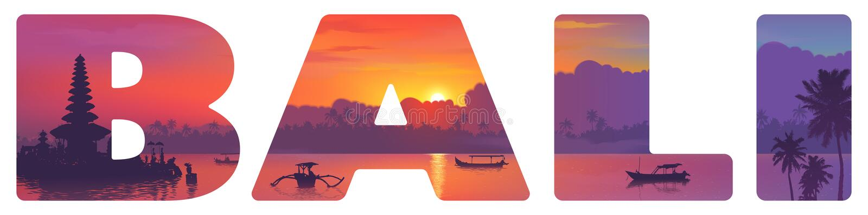 Ориентиры острова Бали: висок, океан, рыбацкие лодки и пальмы на заходе солнца, иллюстрации вектора в большом знаке оформления иллюстрация штока