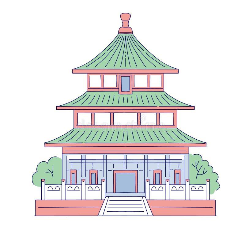 Ориентир вектора китайский строя архитектурноакустический Восточная линия дом архитектуры искусства традиционный исторический нац бесплатная иллюстрация