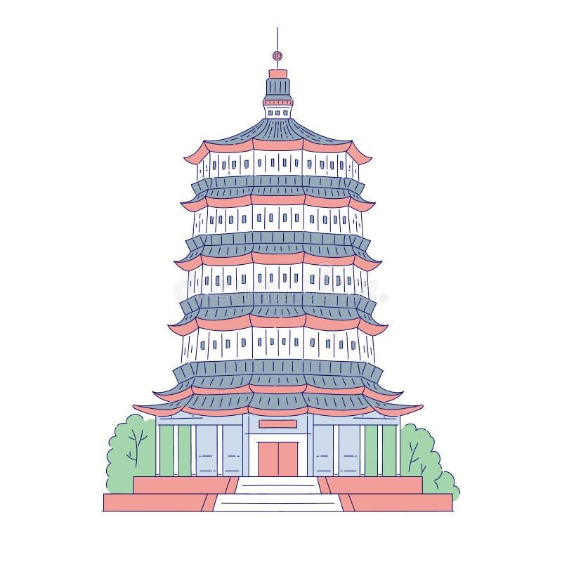 Ориентир китайской пагоды вектора архитектурноакустический Восточная линия здание архитектуры искусства традиционное историческое иллюстрация штока