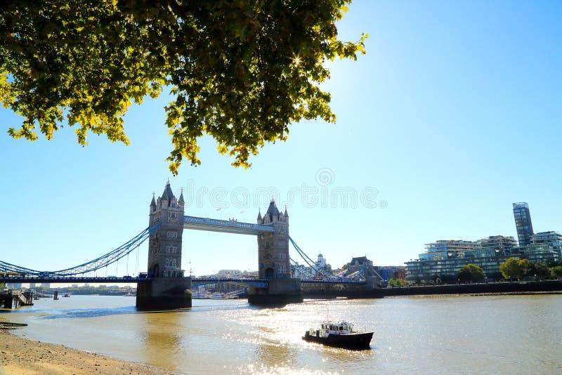 Ориентир моста башни Лондона, Великобритании, с завтрак-обедом весны и кораблем на реке thames как передний план стоковые изображения rf
