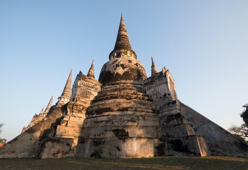 Ориентир наследия Wat Phra Si Sanphet в Ayutthaya Таиланде висок имеет пагоду 3 стоковое фото