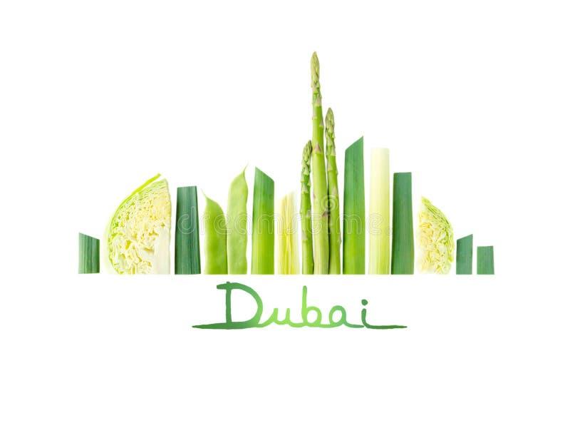 Ориентир ориентиры города Дубай сделанные овощей стоковые фото