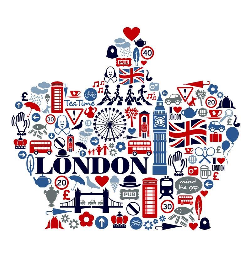 Ориентир ориентиры и attractio значков Лондона Великобритании иллюстрация вектора