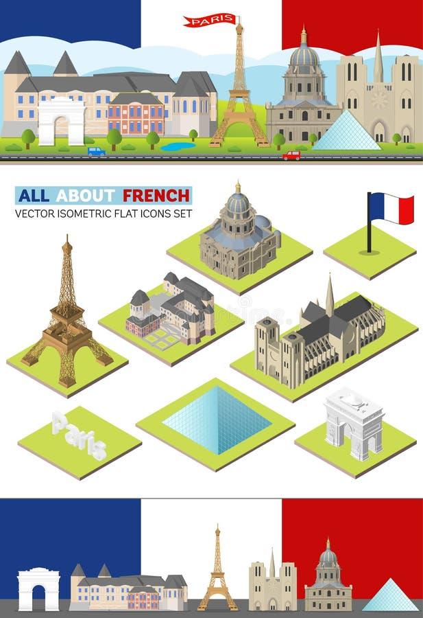 Ориентир ориентиры перемещения Франции вектора известные Горизонт Парижа установил для сети и передвижного app Плоский, равновели бесплатная иллюстрация
