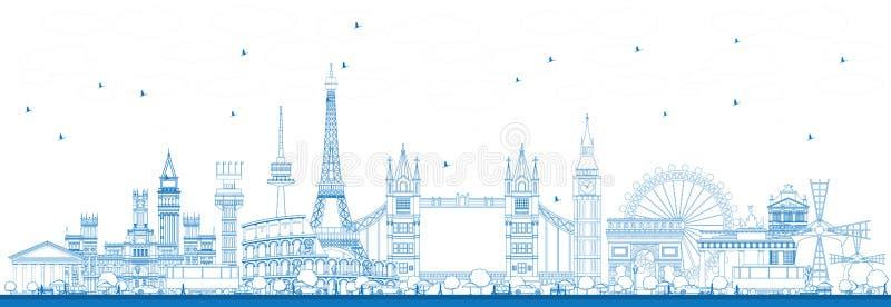 Ориентир ориентиры плана известные в Европе иллюстрация вектора