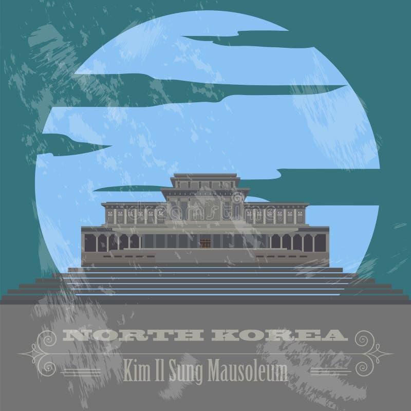 Ориентир ориентиры Северной Кореи Ретро введенное в моду изображение иллюстрация штока