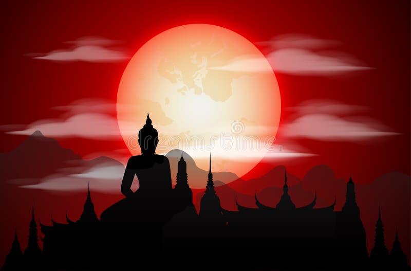 Ориентир ориентиры Таиланда виска и силуэт, луна крови, привлекательность перемещения иллюстрация вектора