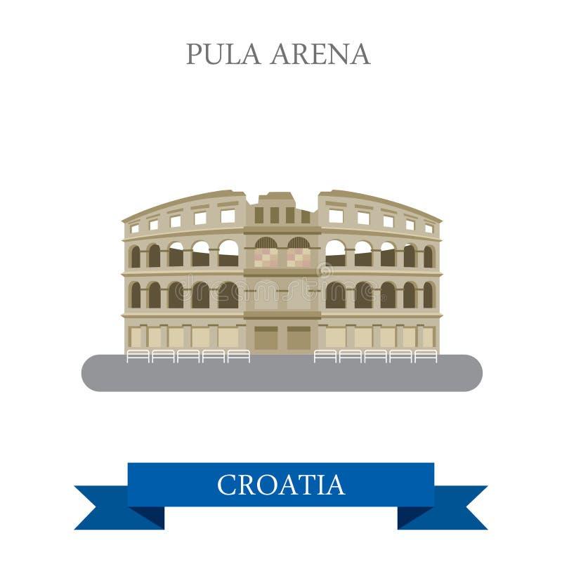 Ориентир ориентир визирования привлекательности вектора Хорватии арены пул плоский иллюстрация вектора