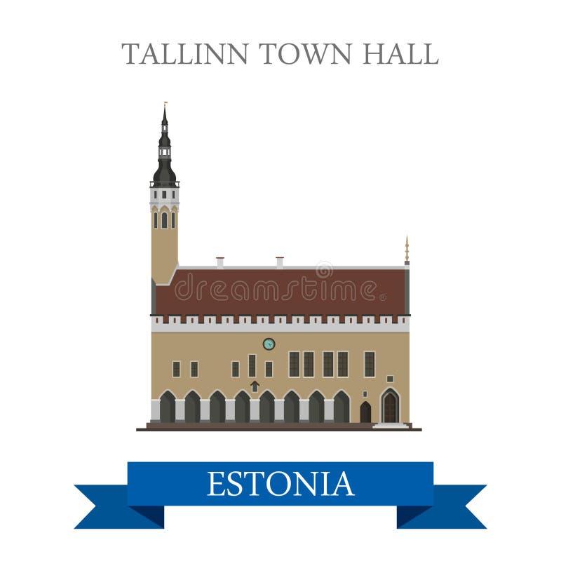 Ориентир ориентир визирования привлекательности вектора Эстонии ратуши Таллина плоский иллюстрация вектора