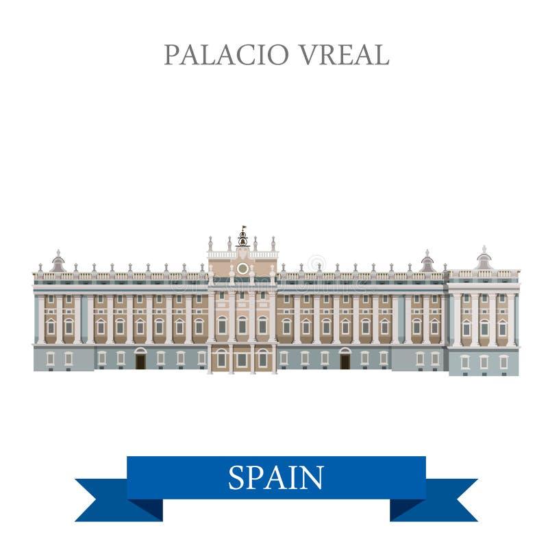 Ориентир ориентир визирования привлекательности вектора Palacio Real Madrid Испании плоский бесплатная иллюстрация