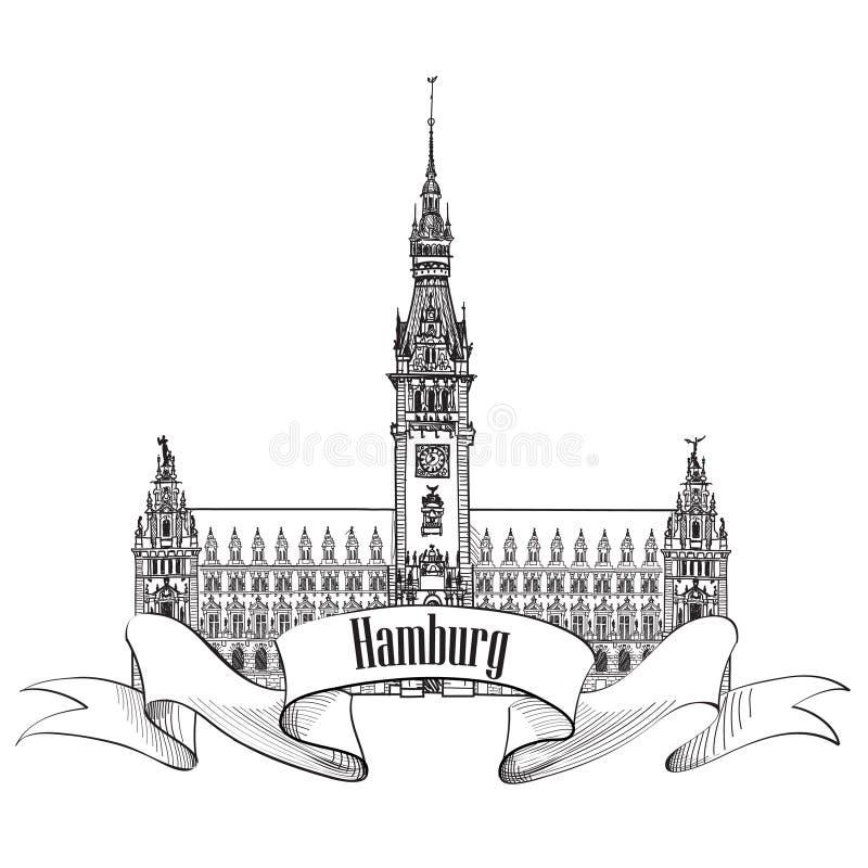 Ориентир ориентир Гамбурга, Германия. Символ эскиза Германии иллюстрация вектора
