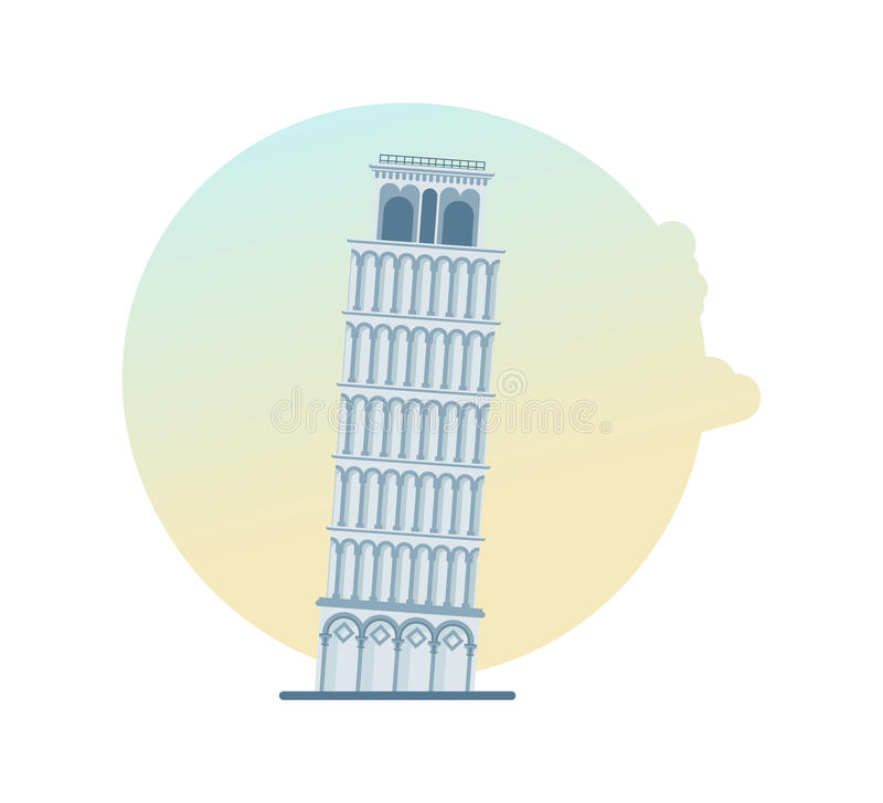 Ориентир ориентир мира Башня склонности Пизы, Италии, Европы иллюстрация штока