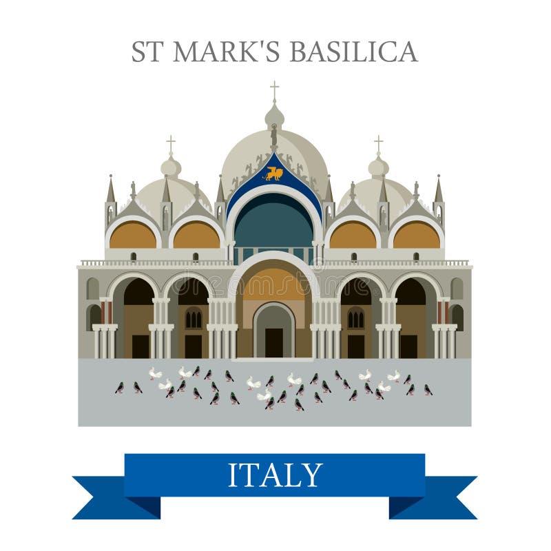 Ориентир ориентир привлекательности вектора Венеции Италии базилики St Mark плоский иллюстрация штока