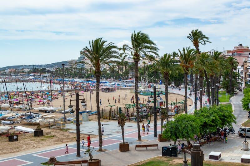 Ориентир пляжа Sitges в Барселоне, Каталонии, Испании стоковая фотография