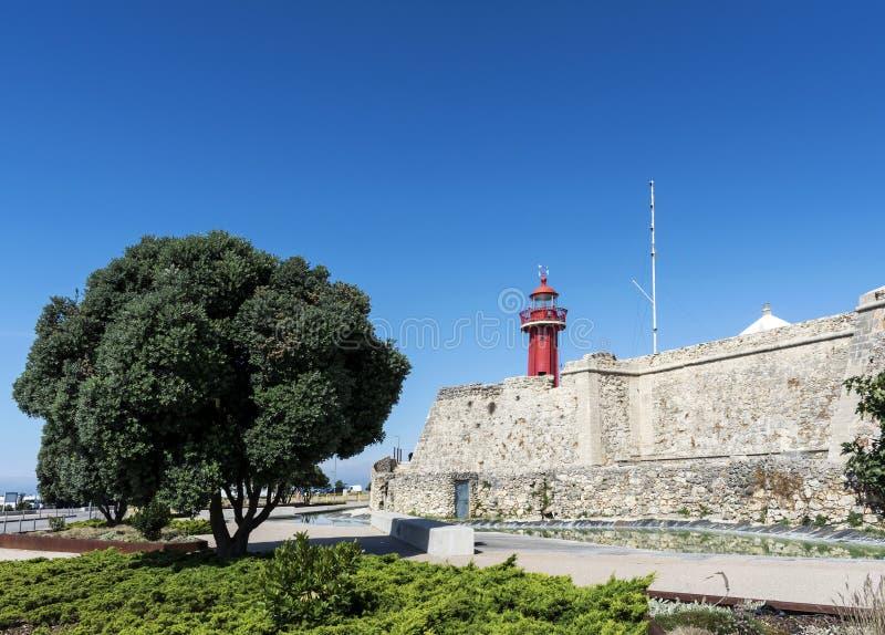 Ориентир ориентир форта Санта-Катарина старый в figueira da foz Португалии стоковое фото