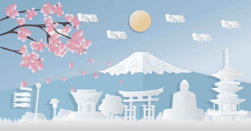 Ориентир Японии всемирно известный, сезоны осени, открытки, панорамные путешествия, рекламируя плакаты в форме вырезывания бумаги стоковые фотографии rf