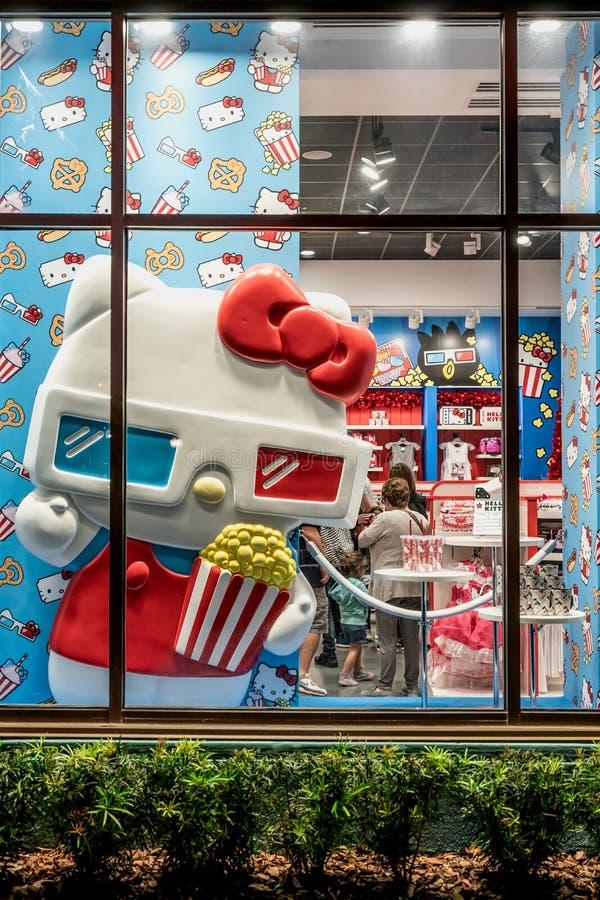 ОРЛАНДО, ФЛОРИДА, США - ДЕКАБРЬ 2017: Здравствуйте! дисплей окна магазина киски на студиях Universal Флориде стоковые изображения