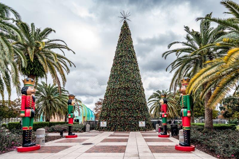 ОРЛАНДО, ФЛОРИДА, США - ДЕКАБРЬ 2018: Рождественская елка на парке Eola стоковые фотографии rf