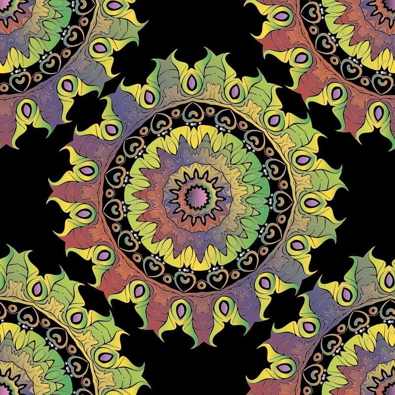 Орнаментальная красочная безшовная картина мандал Красивая яркая сделанная по образцу предпосылка Орнаменты винтажного этническог иллюстрация вектора