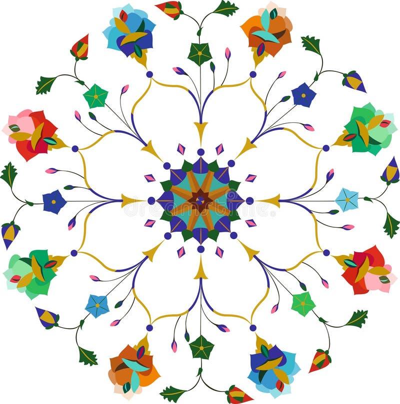Орнаментальная круглая флористическая картина шнурка иллюстрация вектора