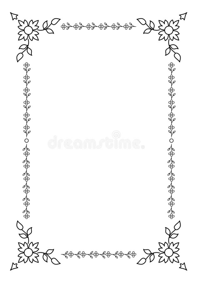 Орнаментальная старая рамка изолированная на белой предпосылке сбор винограда типа лилии иллюстрации красный бесплатная иллюстрация