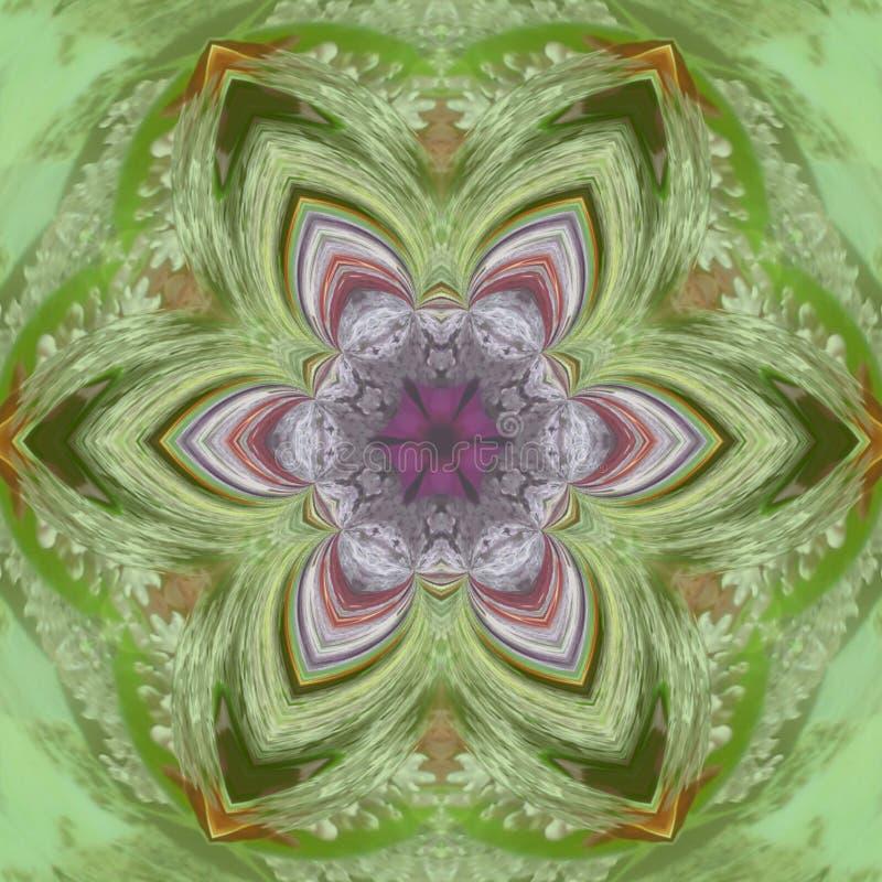Орнаментальная флористическая круглая картина Мандала красочных элементов орнамента винтажных зеленая иллюстрация штока